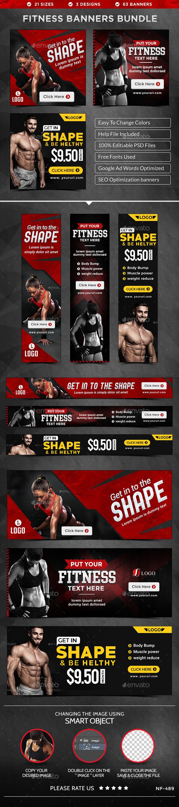 Health & Fitness Banners Bundle - 3 Sets Template #design Download: http://graphicriver.net/item/health-fitness-banners-bundle-3-sets/12146086?ref=ksioks