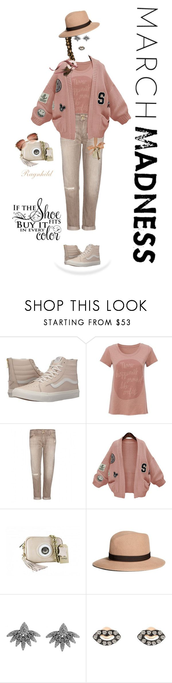 """""""March Madness: High Tops"""" by ragnh-mjos ❤ liked on Polyvore featuring Vans, True Religion, WithChic, Brooks Brothers, House of Harlow 1960, Kismet by Milka, contest, outfit and hightops"""
