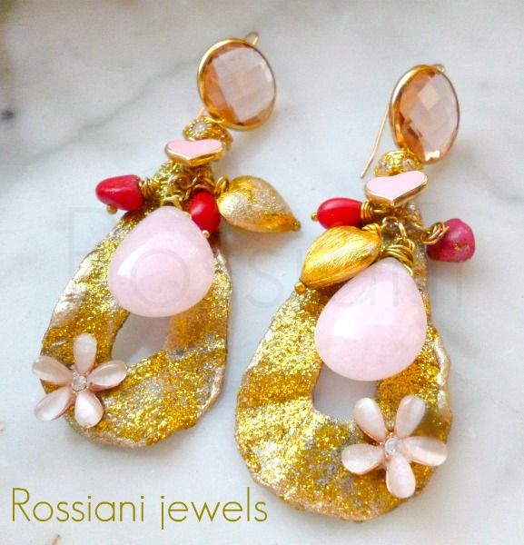 Color drops, pink - pink quartz, coral and brass - Rossiani Jewels - Italian handmade jewels - Made in Italy