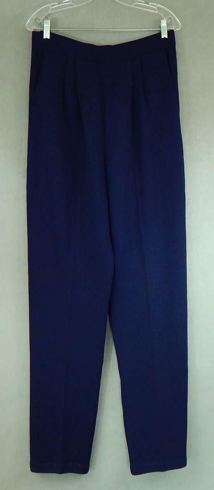 ST. JOHN COLLECTION $450 NEW NWT Dark Navy Blue Santana Knit Pants Size 14 #StJohn #DressPants