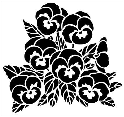 Pansies stencil from The Stencil Library GARDEN ROOM range. Buy stencils online. Stencil code GR41.
