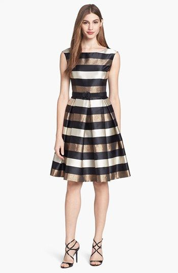 Eliza J Stripe Metallic Fit & Flare Dress available at #Nordstrom