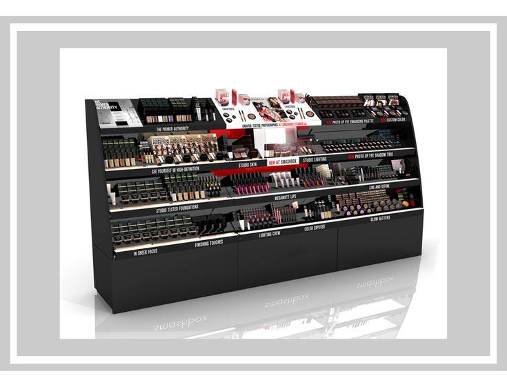3-bay affichage de gondole pour Sephora à Smashbox Cosmetics