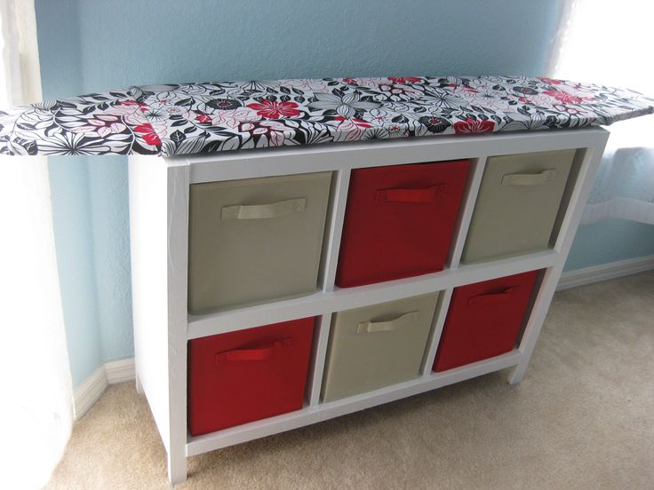 Cubby Shelf with Hinged Ironing Board Top. I am putting this in my craft room to store my fabric and unfinished sewing projects in the drawers. And of course my iron.