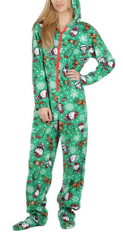 Inspired by the Holiday Sweater tradition, cute Hello Kitty micro fleece onesie that buttons up from the waist to neck on Sanrio