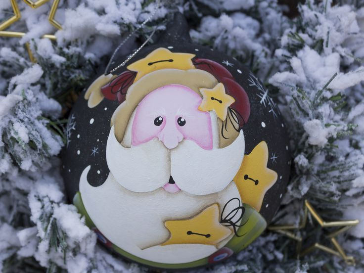 Santa with stars Christmas ornaments glass ball 12 cm hand painted country painting