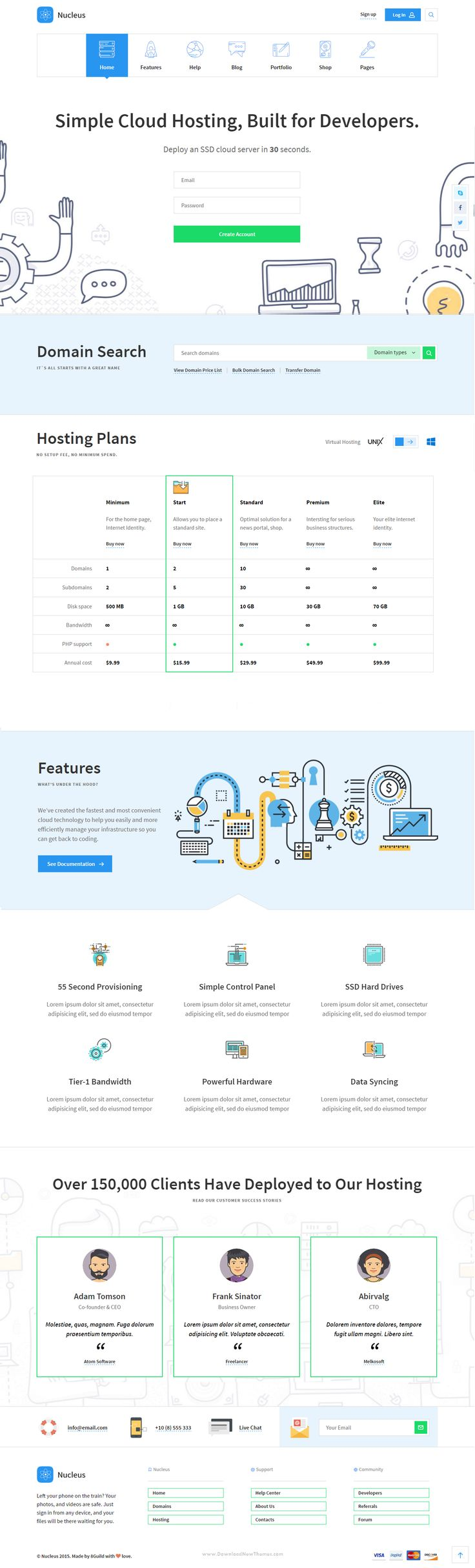 Nucleus - Multipurpose Technology Bootstrap HTML Template. It has 6 Unique and Creative Landing Pages Template #web #hosting #marketing #website