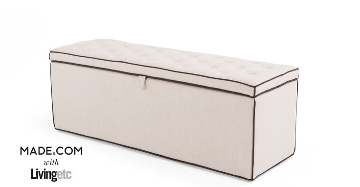 Bergerac Storage Bench, Stone with Contrast Piping | made.com