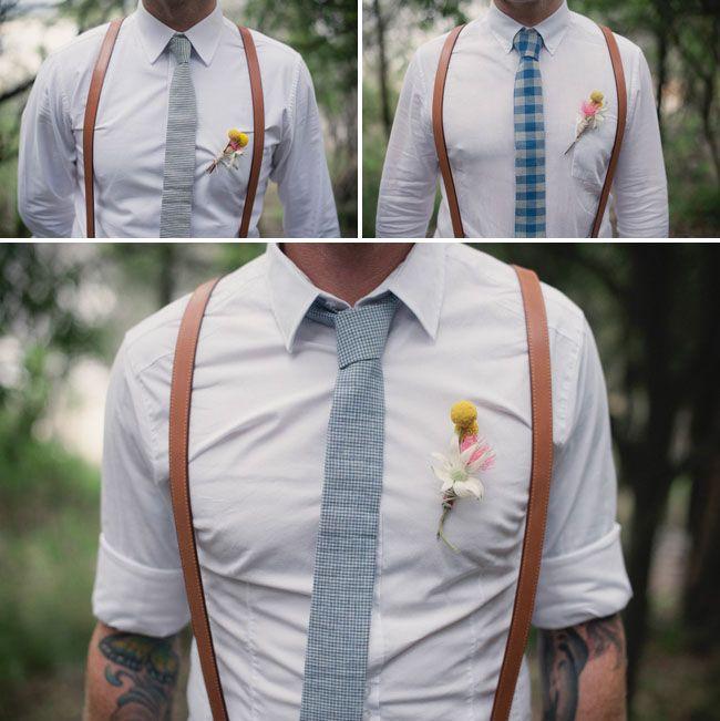 Chemise blanche et bretelles : le combo parfait pour les marié et ses témoins