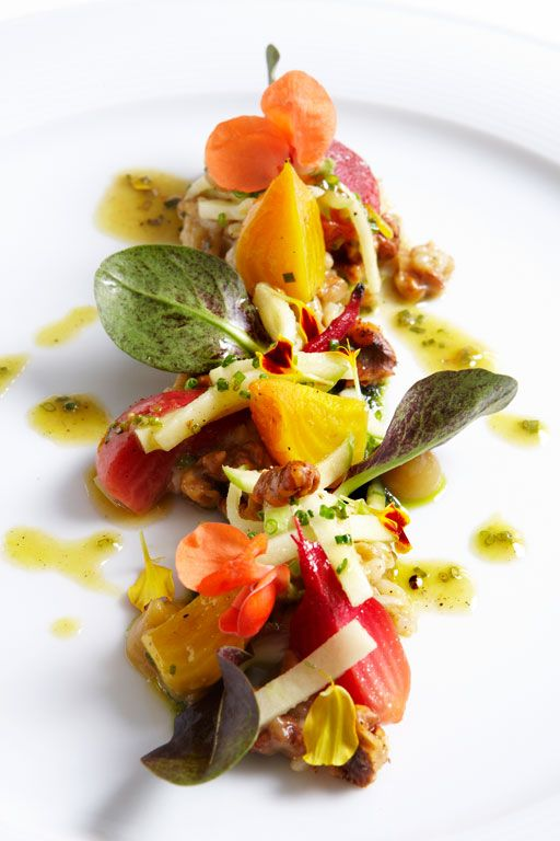Wolfgang Puck's Farro, Apple, Beet, Spiced Walnut Salad