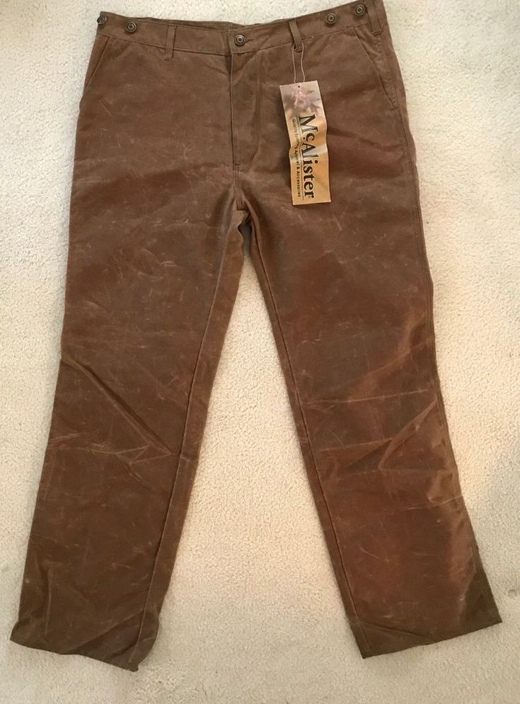 McAlister Sz 38 Hunting Pants Heavyweight Wax Thornproof Tan Brown Suspender  #McAlister #Field