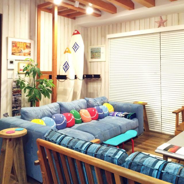 SWNCTさんの、ティンバーンスター,サーフボード,デニムソファ,WTW,ronherman,ロンハーマン,ソファ,Lounge,のお部屋写真