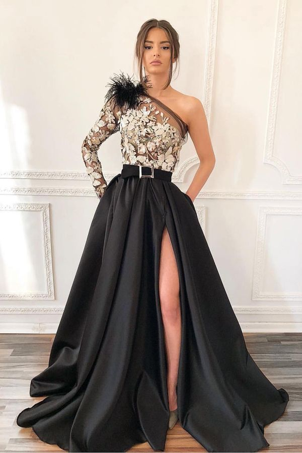 106c97fe51cd30 gorgeous long black appliqued prom dress, chic one shoulder split prom dress,  elegant prom dress with pockets feathers#prom #longpromdresses ...