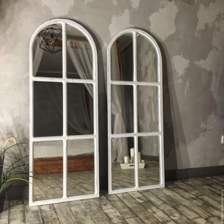 Купить Зеркало DAVE - белый, зеркало, зеркало окно, зеркало ставни, белое зеркало