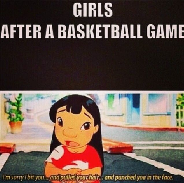 I punch a girl at a championship game and after I'm like sorry I took u out of the game NOT