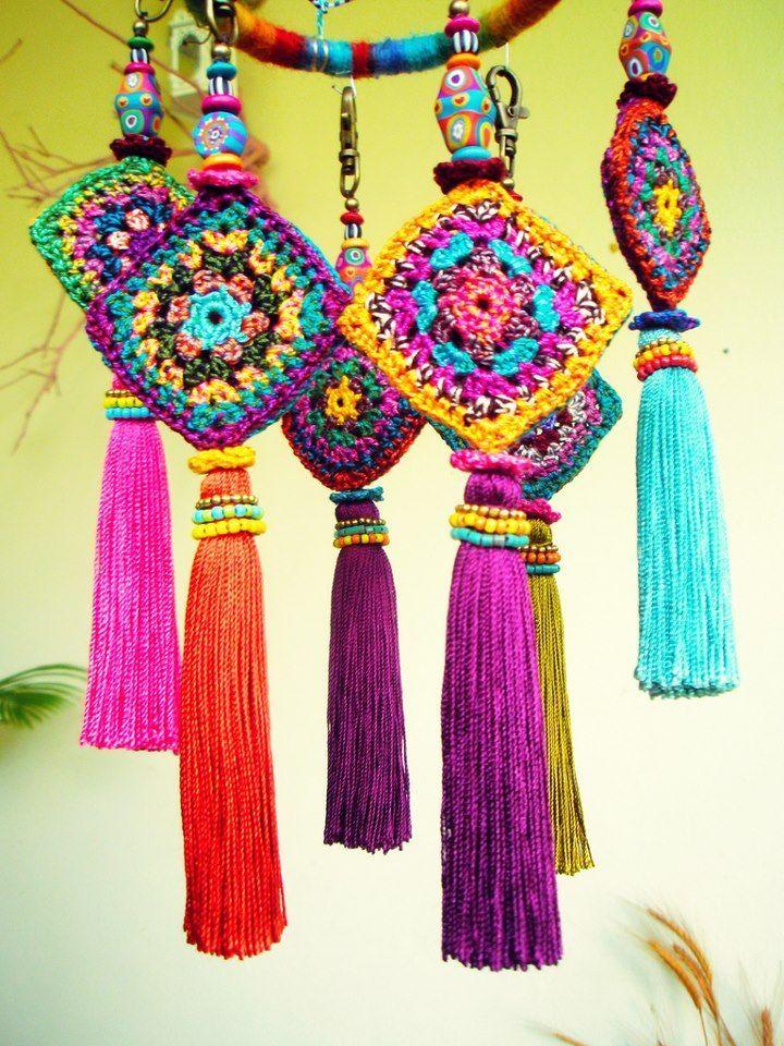 Crochet Inspiration: Granny squares look so cute in a little dream catcher!: