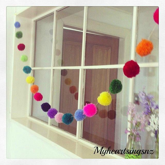 Instant cheerfulness! Multi coloured pompom garland