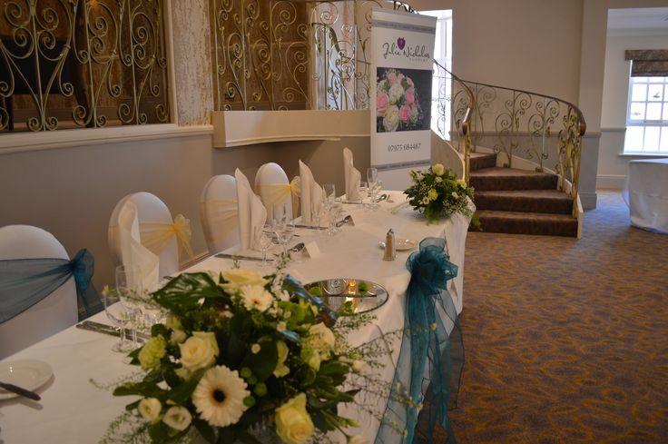 Albrighton Suite, Weddings, top table, Julie Nicholas florist