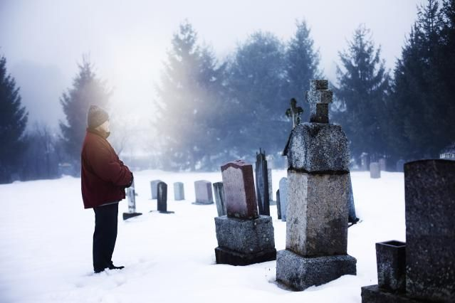 A Prayer for the Dead, by Saint Ignatius of Antioch: A man in a cemetery in winter.