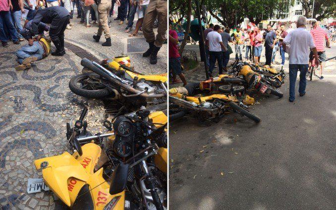 Carro desgovernado atinge várias motocicletas e deixa feridos em Teófilo Otoni