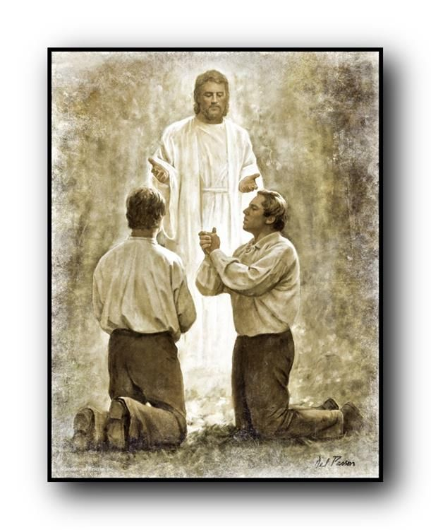 Joseph Smith and Oliver Cowdrey given the Aaronic Priesthood. (Del Parson)