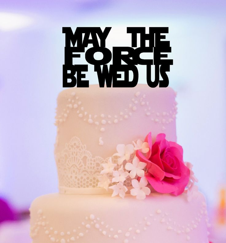 Star Wars Inspired Wedding Cake Topper. May the force be wed us. Star Wars Wedding. by KimeeKouture on Etsy https://www.etsy.com/listing/259786754/star-wars-inspired-wedding-cake-topper