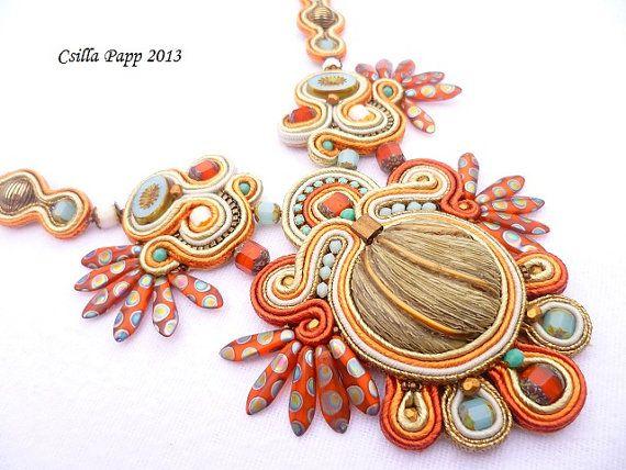 Soutache necklace soutache rust gold burnt orange white blue handmade embroidered necklace
