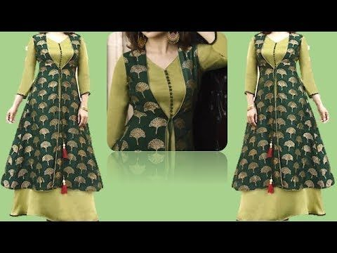 e0d67f10a Beautiful Designer Kurti With Front Open Jacket Full Tutorial - YouTube