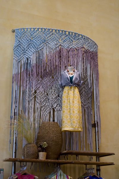 anthro macrame displays by Jessica Pezalla (and anthro display team) via Bramble Workshop (jesicca's design studio) | jersey fabric strips on metal supports