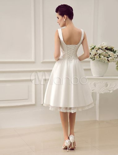 Ivory Wedding Dress Knee-Length Backless Straps Lace Wedding Gown Milanoo
