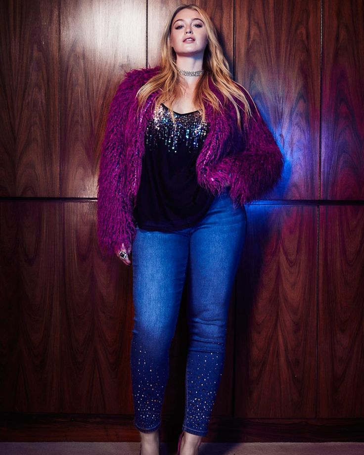 plus-size-addition-elle-l&l-mesh-top-with-cropped-fur-jacket-and-embellished-skinny-jeans