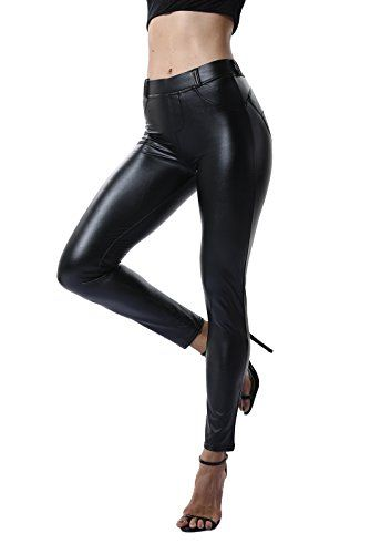 e6f35f49a9a7 FITTOO Pantalon Cuir Femme Legging Sexy Collant Mince Slim Leather Pants  Women Noir S