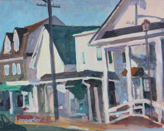 Streetscape small town  16x20 inch art by modernimpressionist
