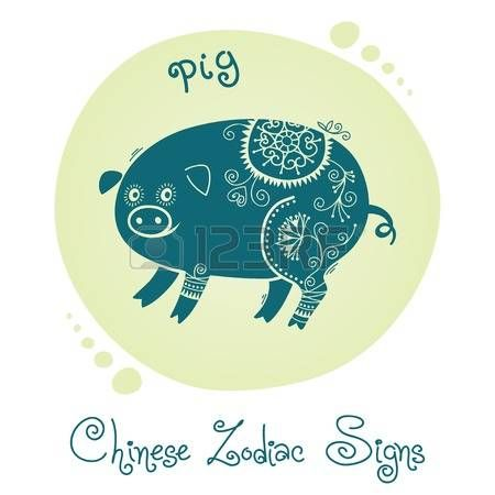 Pig. Chinese Zodiac Sign. Silhouette with ethnic ornament. Vector illustration. photo