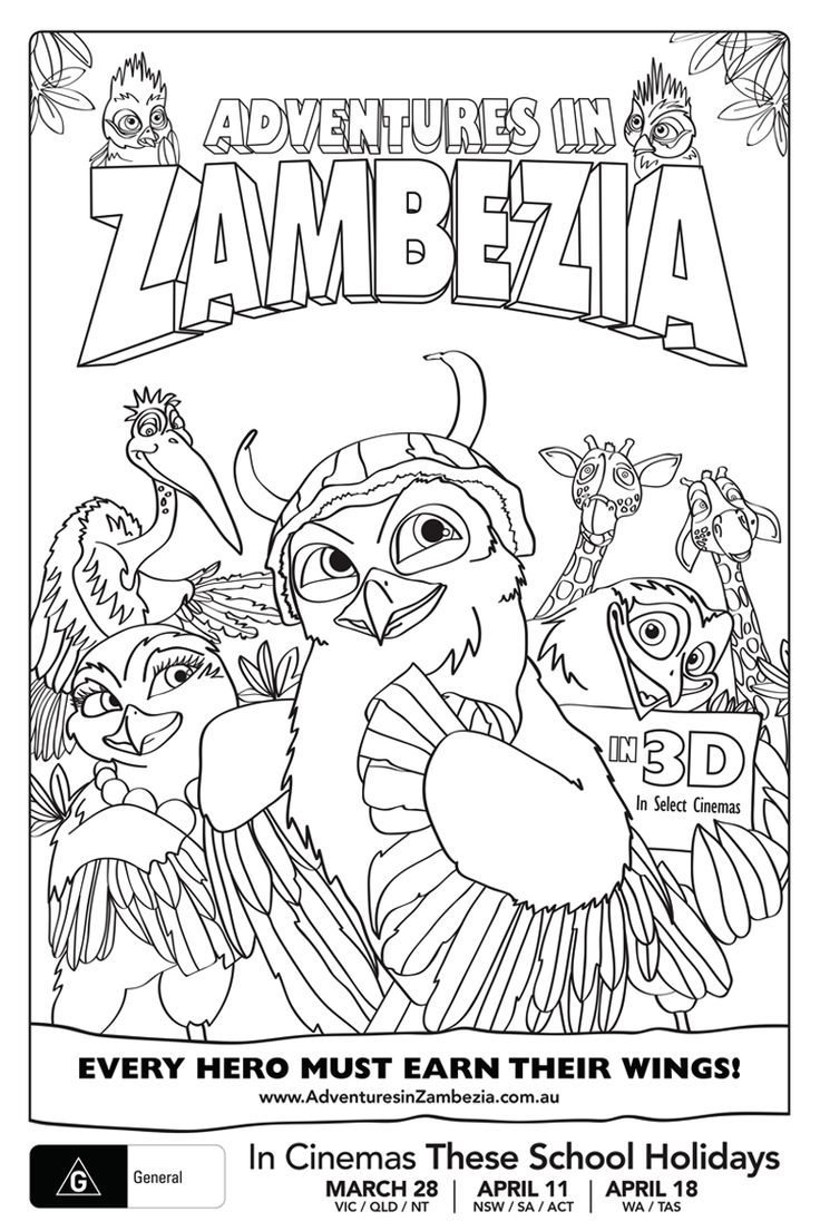 Adventures in Zambezia Colouring Sheets on The Loop © Carnival Studio and Anne Nicholson