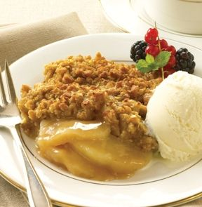 APPLE CRISP. Fresh-frozen sliced apples piled high and covered with a blanket of rolled oats, brown sugar and spices. Just bake and serve. - M & M Meat Shops