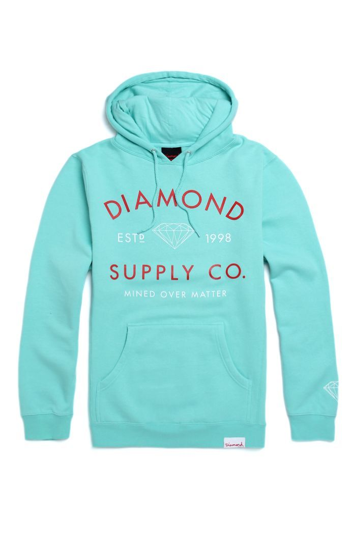 PacSun presents the Diamond Supply Co. Mined Over Matter Hoodie for men. This mint green men's hoodie offers a two tone Diamond Supply Co. graphic printed on the comfortable body.	Mint green body with Diamond Supply Co. logo on chest	Diamond Supply Co. logo loop on bottom	Matching hood and drawstrings	Front pocket pouch	Fleece lining	Long sleeves	Machine washable	80% cotton, 20% polyester	Made in USA