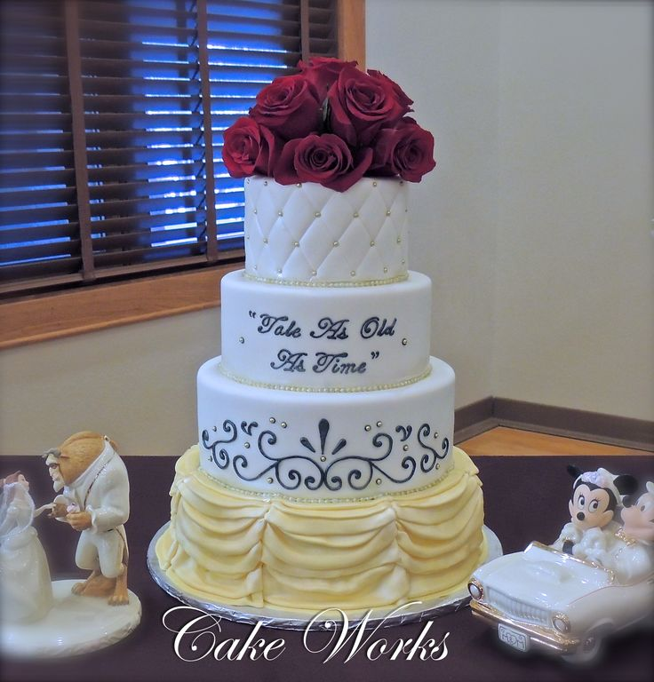 Tale As Old As Time Wedding Cake - Wedding cake for a Disney themed wedding.