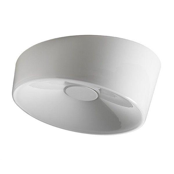 Lumiere XXL - Foscarini  Lámpara de pared o de techo con luz difusa. Difusor en vidrio soplado a mano y pulida por corte oblicuo. Marco y elemento central, que actúa como un vaso bloqueado, polvo de metal recubierto, balasto electrónico. Modelo XL también disponible en una versión regulable (1x55 W).   Referencias Lumiere XXL - Foscarini: 191005 11 - Lumiere XXL de pared o techo en blanco