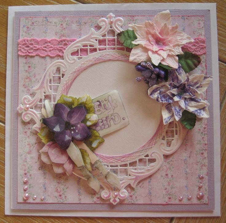 M.K - mallen van Joy, knipvel Marieke, bloemen gemaakt met mal van Noor,achtergrond Maja design, borduurgaren Mettler, kantje van action. , parels gemaakt met parelpen.