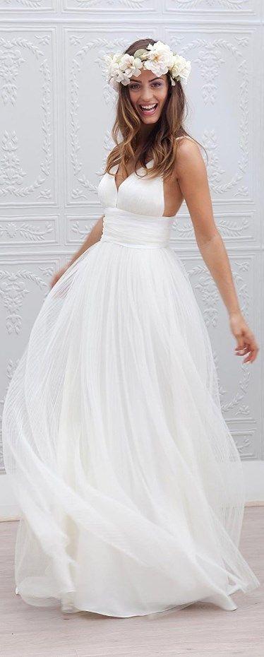 Spaghetti Straps Bridal Gown Garden Wedding Beach Style – Michelle Van Vugt.