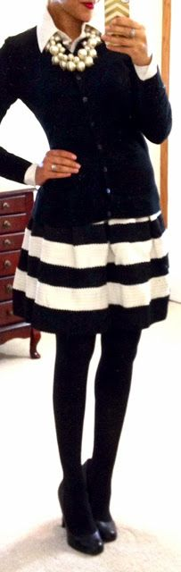 ♥ THIS. . Black sweater/  blouse /  Striped skirt / black tights / black pumps / pearl bobble!