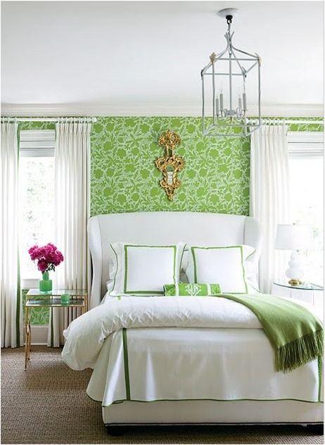green: Guest Room, Idea, Green Bedrooms, Color, Guest Bedroom, Dream House, Wallpaper, Master Bedroom, White Bedroom