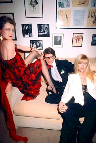 Loulou de la Falaise (left) with Yves Saint Laurent and Betty Catroux at YSL's appartment, 1970