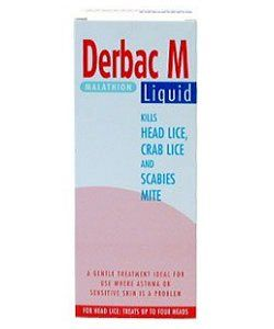 Miscellaneous DERBAC-M LIQUID 200ML Derbac-M liquid contains the active ingredient malathion, which is an organophosphorous insecticide that kills parasites such as head lice, pubic lice and scabies mites. The product you ordered is Pha http://www.comparestoreprices.co.uk/health-and-beauty/miscellaneous-derbac-m-liquid-200ml.asp