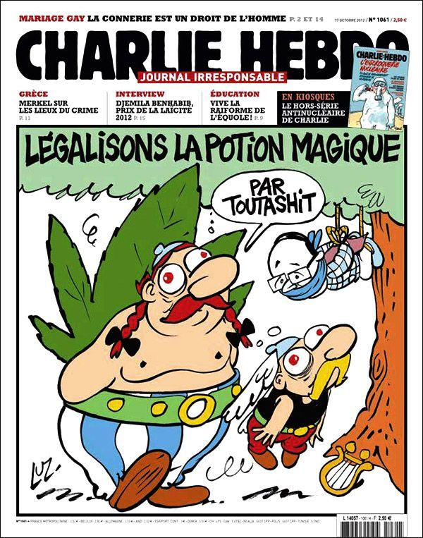 Hahaha parfaite la Une du Charlie Hebdo couvrant un double sujet d'actualité