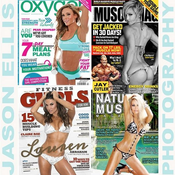 "Covers of #oxygen #naturalmuscle #musclemag #fitnessgurls. Jaimie Eason cover model say's, ""If you are looking for images to take your modeling career to the next level, then look no further, book Jason Ellis immediately!"" Email JasonEllisPhoto@yahoo.com to book your shoot now! Paige Hathaway, Lauren Abraham"