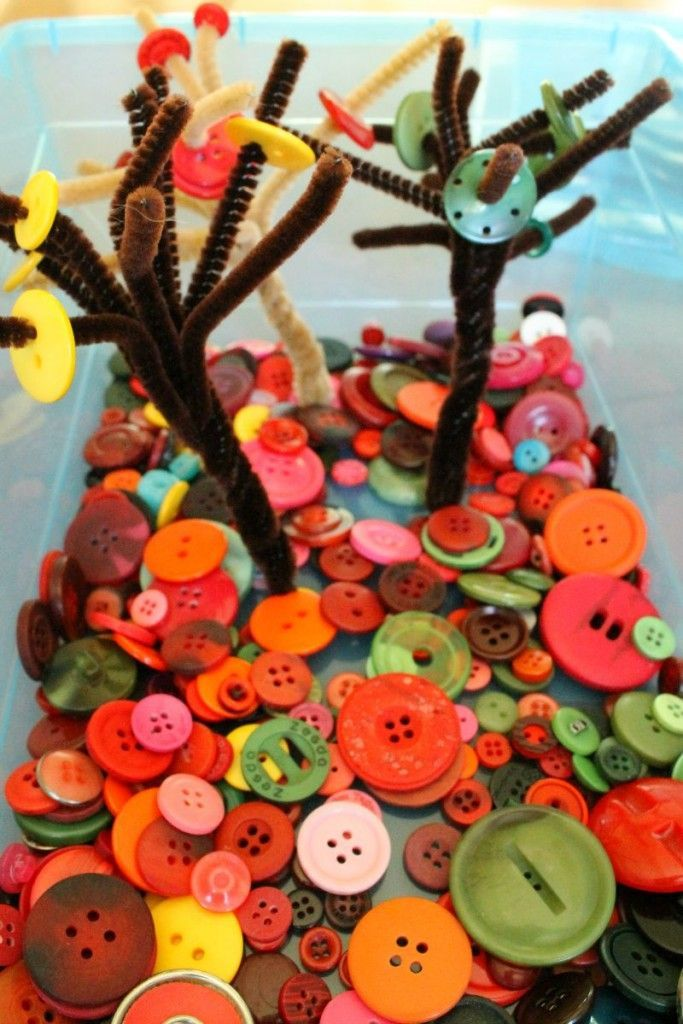 Such a great quiet time activity for kids! Button Trees Quiet Bins idea!