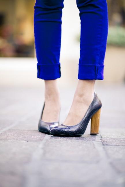 Yves Saint Laurent shoes with electric blue pants