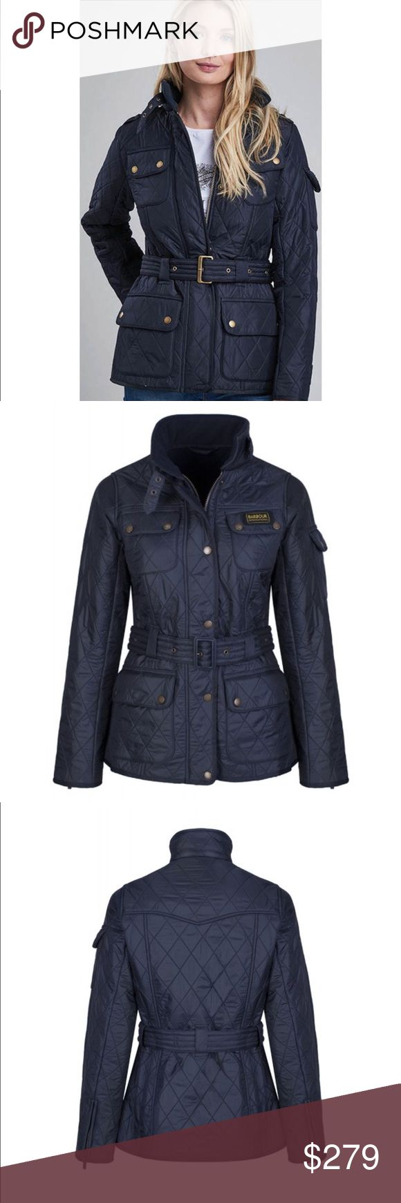 NWT BARBOUR TOURER POLARQUILT: NAVY This jacket is GORGEOUS. I️t is brand new and I️ bought I️t as a treat to myself but I️ never wear I️t and I️t deserves to be worn!! 😭😭 A Barbour jacket is a staple in any wardrobe! The last pick shows I️t is on sale now at Nordstrom but that is black, the rest of the pics and this jacket are NAVY! 😍😍😍 size: US 8/UK 12 this jacket is so flattering! The belt makes your waist look so tiny! Barbour Jackets & Coats